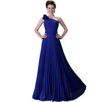beaded cross pattern - One Shoulder Blue Evening Dresses Long Chiffon Green Purple Blue Robe De Soiree Long Red Formal Dress Elegant Gowns