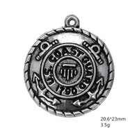 antique military jewelry - My shape Antique Silver Plated United States Army Badge Charm Military Series Coast Guard Charms for Jewelry Making