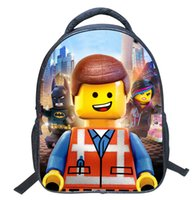 Wholesale 2016 Lego Pattern Cartoon Student Backpack Children Pupil Kid School Bag Unisex Bags Nylon Kids Bookbag Bag KBB069