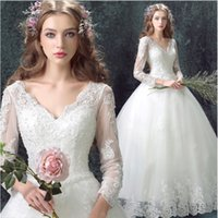Wholesale Deep v neck white big wedding dresses High end custom luxury trailing