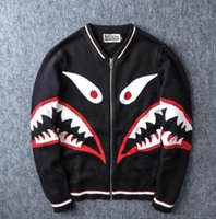bape shorts - 2016 Autumn shark sleeve baseball windbreaker hoodie ture brand coat sweatshirts top mens designer clothes small plus size black red