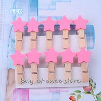 Wholesale Mini Star Shape all kinds colors Wooden Clothes Photo Paper Peg Pin Clothespin Craft Clips