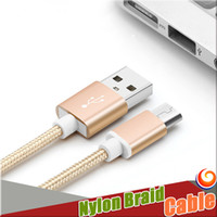 Wholesale Nylon Braid Cable Micro USB Cable M High Speed USB Aluminum Shell Connectors Android Samsung S7 Iphone S Plus