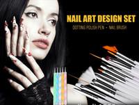 al por mayor uñas de gel conjunto de cepillo del arte-20Pcs Belleza Nail Art Diseño Set Dotting Pintura Dibujo Polaco Cepillo Nail Art Diseño Gel Pintura Dibujo Dotting Pen Polaco Set Cepillo
