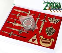 Wholesale 12pcs set Anime Game The Legend of Zelda Weapons Pendants Heart Key The Triforce Vintage Keychain Charms Necklace Set Figure Toy