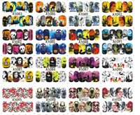 Wholesale Halloween D nail art stickers skull water transfer Manicure sticker pumpkin nail decals nail tips wraps vinyl Mix Color for hallowen party
