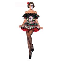 Wholesale Skeleton Costume Sexy Circis Clown Harlequin Fancy Dress Day Of The Dead Costume XL