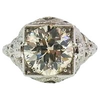 american art stone - Art Deco Old European Cut Diamond Ring