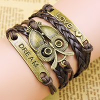 america lock - 2016 Europe and America fashion the explosion Wings of angels Weavev Bracelet Owl Bracelet couple lock accessories