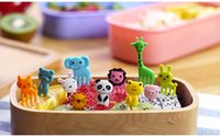 Wholesale Cute Animals Food Picks and Forks bright color Bento Food Pick Fork animals fruit forks for children food picks jy844