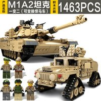 assembly tank - Selling Open the wisdom of the new tank M1A2 KY10000 assembly Puzzle Children building block toys century military on1463pcs