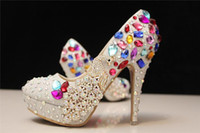 Wholesale 2016 Spring Summer Charming Wedding Shoes Colorful Beaded Women s Prom Party Evening Dress Wedding Bridal Shoes cheap CM
