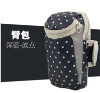 Wholesale 2016 new style Cheapest Bag Sports Arms Package Dots Outdoor Sports Running Equipment Wrist Bag Fitness Armband Bag Navy