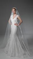 Cheap cap sleeves elegant mermaid wedding dresses 2017 v back v neck full embellishment beautiful chapel train wedding gowns