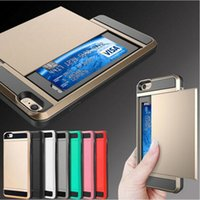 Wholesale Verus Brand Armor Cases Slide Credit Card Case with Card Storage PC TPU Case For Iphone s s s plus Samsung Galaxy S6 edge S7 S6
