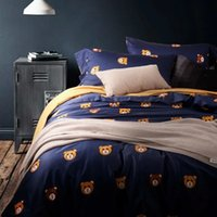 bags egyptians - Teddy Bear linen Bedding set Cute duvet cover Egyptian cotton bed sheets bed in a bag bedspread King size queen bedroom quilt bedsheet