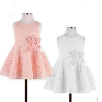 Wholesale Baby Kids Clothing Girls Dresses wedding princess Ball Gown sleeveless White pink Lace Hook bud silk flower girl gowns C815