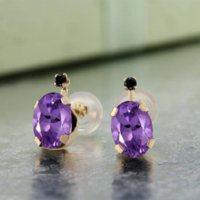 Charm amethyst stud earrings yellow gold - Real K Yellow Gold Stud Earrings1 Ct Oval Natural Purple Amethyst Black Diamond Earrings For Women GemStoneKing