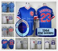 Wholesale Ryne Sandberg Jersey Vintage Chicago Cubs Cooperstown Jerseys White Blue Grey Cream