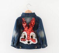 Wholesale 2016 New Girls Jackets Children Clothing Outerwear Coats Long Sleeve Cartoon Rabbit Sequins Washed Denim Jackets jeans wear