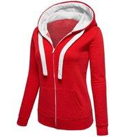 Wholesale 2016 Spring Autumn Women Hoodies Zip up zipper Solid Long sleeves fleece coat Casual Hooded Hoodies Sweatshirts