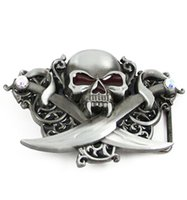 Wholesale Hot Super Fasion Jeweled Skull with Crossed Swords Belt Buckle man Big Belt Buckle Buckles High Quality