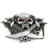 belts with skulls - Hot Super Fasion Jeweled Skull with Crossed Swords Belt Buckle man Big Belt Buckle Buckles High Quality