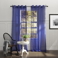 Wholesale Country Elegant Blue Solid Eco friendly Sheer Curtains Grommet Top With Custom Multi Size