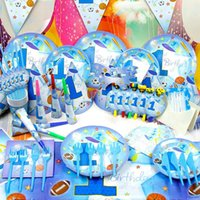 baby sports theme - 78pcs Sunny Sport Boys Luxury Kids Birthday Decoration Set Theme Party Supplies Baby Birthday Party Pack candy bar