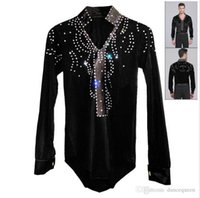ballroom dancewear men - 2016 Men Boy Latin Dance Dress Ballroom Dance Tops High Grade Velvet Drill Latin Dance Shirt Long Sleeve Dancewear Shirts