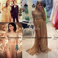 Wholesale 2016 Formal A Line Party Evening pageant Gown champagne luxury sparkly Crystal Beading over skirt cap Sleeves Two Piece Prom Dresses