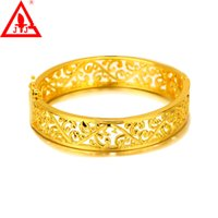 Wholesale 24K Yellow Gold Plated Luxury Bangles Fashion Jewelry MM New Arrival Engraving Classic Design Gift For Women