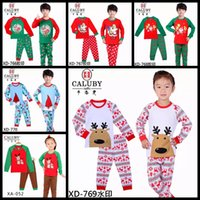 Wholesale 2016 children christmas pajamas different style baby girls holiday clothes boys x mas pjms santa claus snow kids set suit outfit