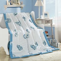 Wholesale microfiber filling cotton fabric summer quilt blue conch cm cm size quilt Blanket Plaids