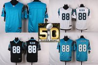 Wholesale Factory Outlet Carolina Pants Greg Olsen Men Womens Kids Blank White Blue Black with Super Bowl Patch Jerseys