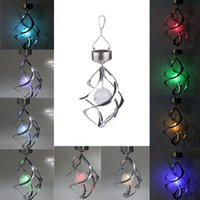 Wholesale Hot New Solar Color Changing Wind Spinner LED Light Garden Yard Decoration Lamp Post Cap B245