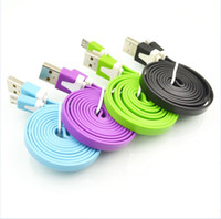 Wholesale 1M Noodle Flat Micro USB Cable Cables Cord Cords USB Charging Line for Android Samsung HTC LG MI Motorola