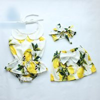 baby dolls toddlers - Newborn Baby Girls Romper summer new toddler kids doll collar lemon floral printed romper Bows headband Bows cotton skirt sets A9673