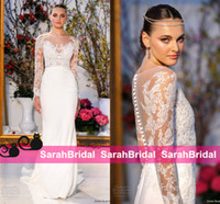 barges for sale - Anne Barge Spring Style New Arrival Wedding Dresses Full Sleeve Sheer Crew Neck Bridal Gowns for Greek Goddess Fashion Brides Wear Sale