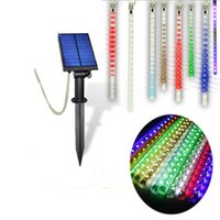 battery powered landscape lights - Outdoor Colorful Meteor Shower Rain Tubes Solar Power Garden Tree Decoration Lamp RGB Solar Light LED Wedding Party Xmas String Light