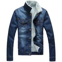al por mayor la promoción de la chaqueta de los hombres-Hombres Otoño Invierno Denim Chaqueta Abrigo de piel Abrigo de cachemira Exteriores Outwear sobretodo Marca Ropa Promociones 2016
