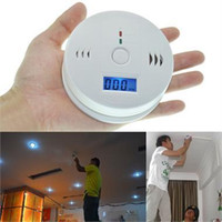 Wholesale CO Carbon Monoxide Detector Alarm System For Home Security Poisoning Smoke Gas Sensor Warning Alarms Tester LCD With Retail Box