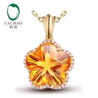 Wholesale mm Flower Shape ct Citrine KT Yellow Gold ct Round Cut Diamond Engagement Gemstone Pendant Jewelry