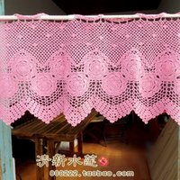beautiful french doors - French style beautiful handmade needle crochet cotton door curtain curtailments fashion vintage pink semi shade curtain