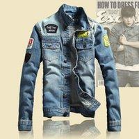 Wholesale 2016 Spring Mens Jackets Brand New Slim Fit Vintage Denim Patch Designs Jeans Jacket Men Coats Plus Size Jaqueta Masculina