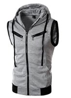 Wholesale 2016 Fashion Men New Arrival Hooded Pockets Vest Sleeveless Good Selling Waistcoats Burgundy Light Gray Dark Gray