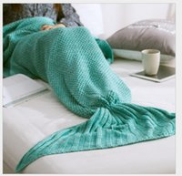 Wholesale 80 cm Size Adult Handmade Popular Tail Blankets Crochet Mermaid Blankets Mermaid Tail Sleeping Bags Cocoon Knit Sofa Green Red Mattress