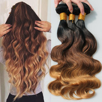 Wholesale Brazilian A B Honey Blonde Ombre Hair Bundles Dark Roots Three Tone Body Wave Ombre Hair Weaves Inches