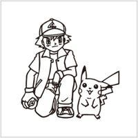Wholesale Poke wall sticker Ash Ketchum and pikachu cartoon sickers black white sketch stickers