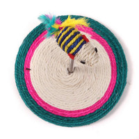 Wholesale 2 Sets Hot Sale Sisal Plate Seat Spring Fish Cat Playing Toys Cat Scratch Cirle Board With Fish Crazy